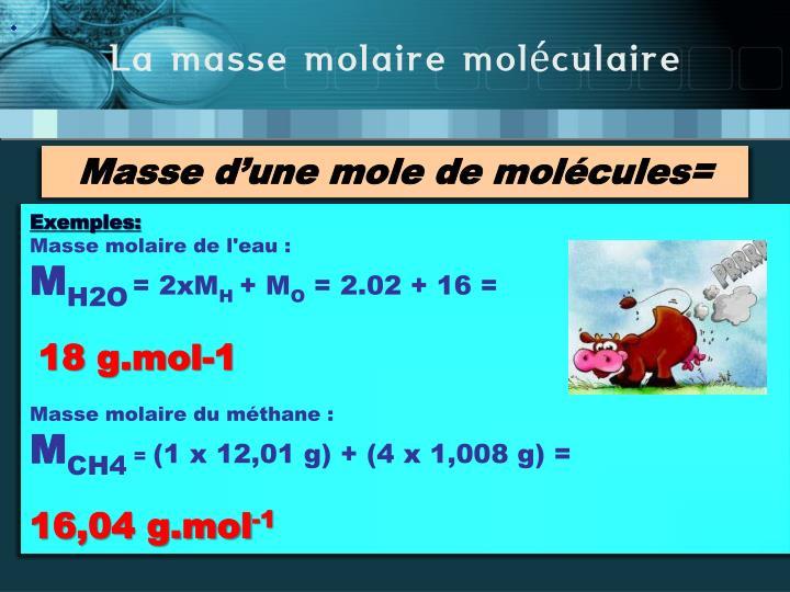 La masse molaire moléculaire