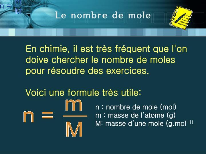 Le nombre de mole