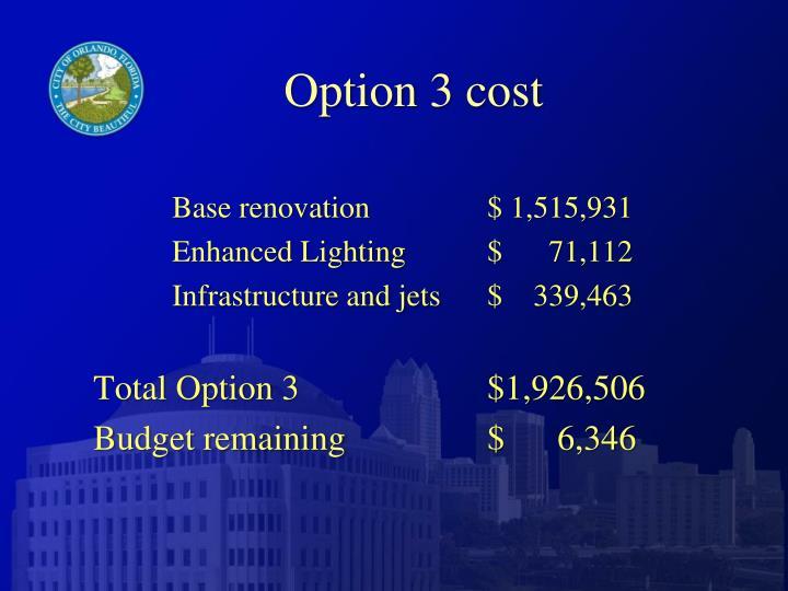 Option 3 cost