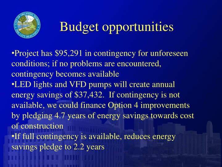 Budget opportunities