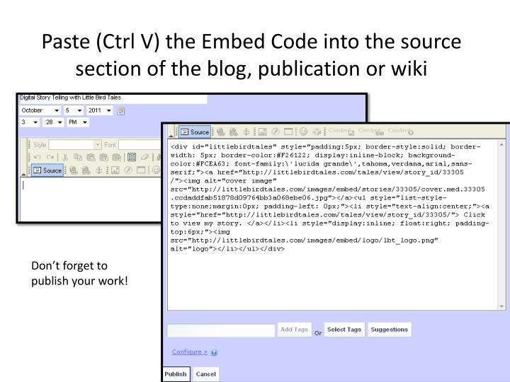 Paste (Ctrl V) the Embed Code into the source section of the blog, publication or wiki