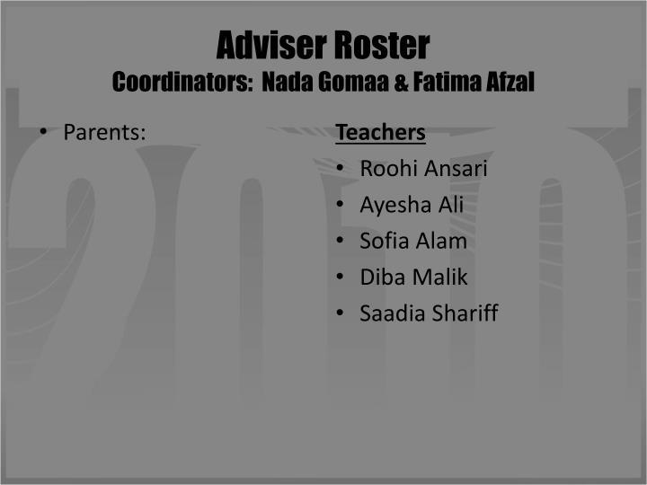 Adviser Roster