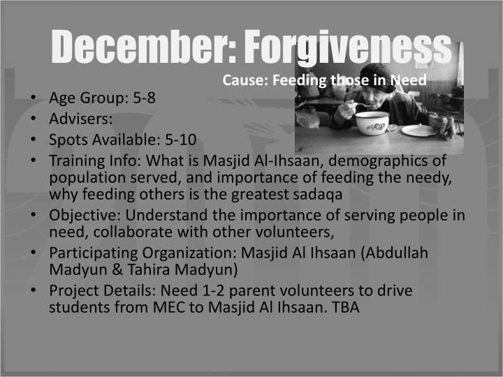 December: Forgiveness
