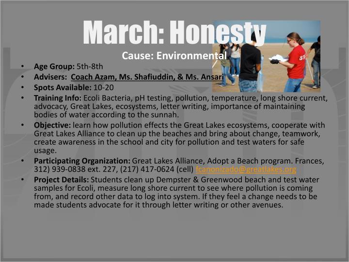 March: Honesty