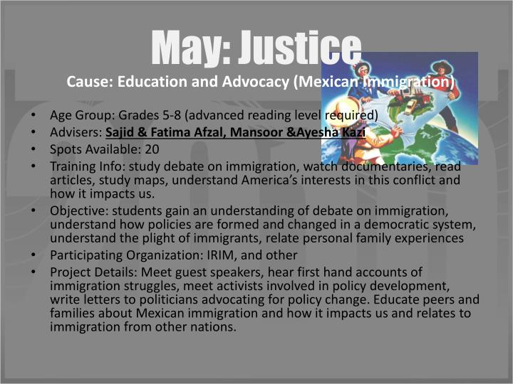May: Justice