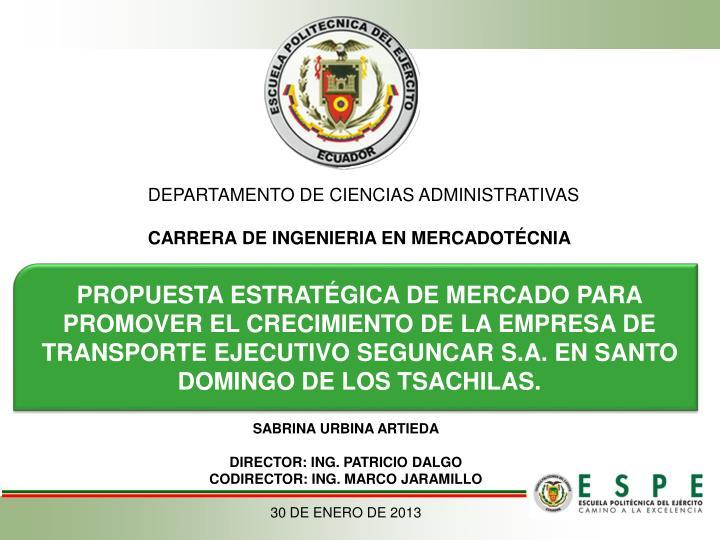 DEPARTAMENTO DE CIENCIAS ADMINISTRATIVAS