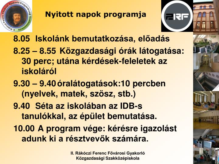 Nyitott napok programja