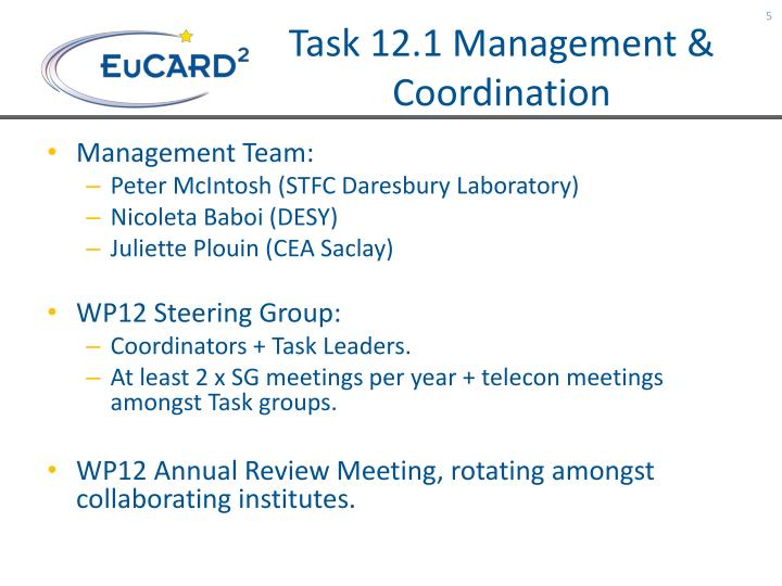 Task 12.1 Management & Coordination