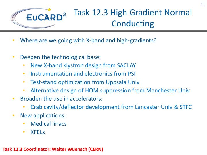 Task 12.3 High Gradient Normal Conducting