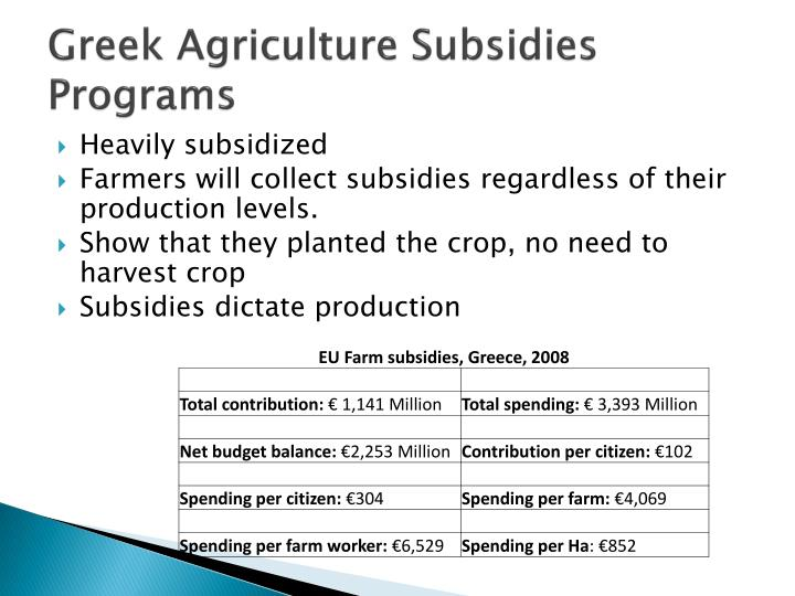 Greek Agriculture Subsidies Programs