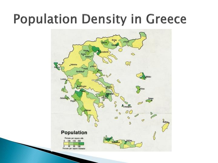 Population density in greece