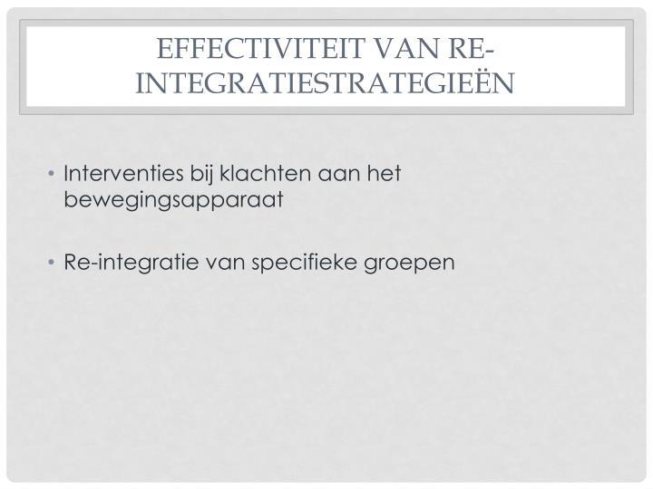 Effectiviteit van re-integratiestrategieën