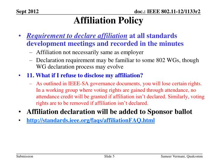 Affiliation Policy