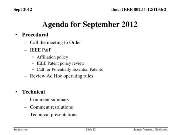 Agenda for September 2012