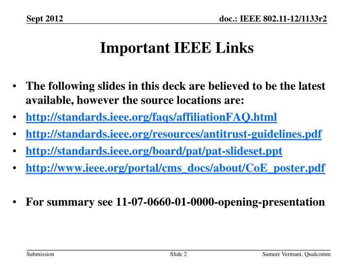 Important ieee links