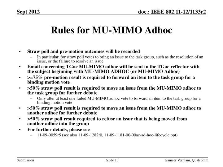 Rules for MU-MIMO Adhoc
