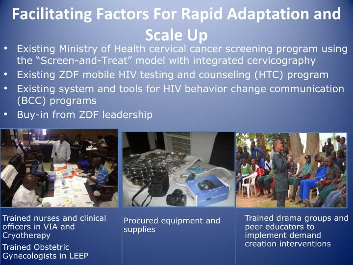 Facilitating Factors For Rapid Adaptation and Scale Up