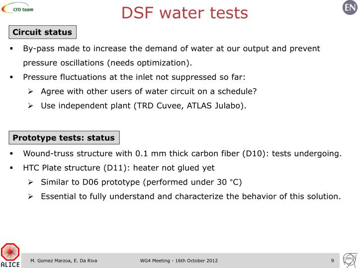 DSF water tests