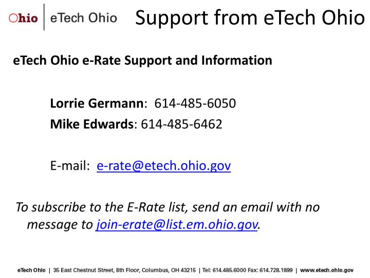 Support from eTech Ohio