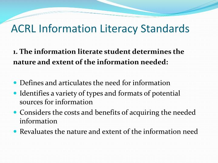 ACRL Information Literacy Standards