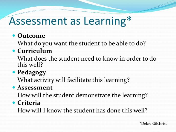 Assessment as Learning*