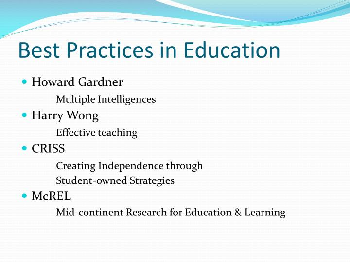 Best Practices in Education