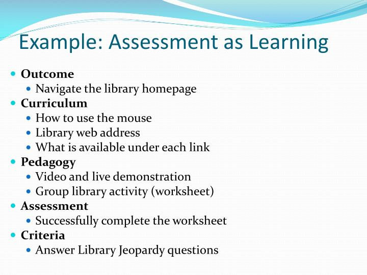 Example: Assessment as Learning