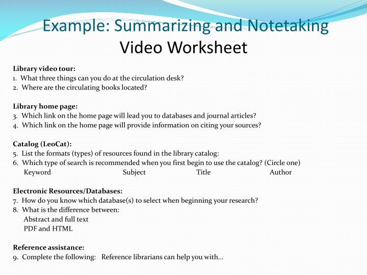 Example: Summarizing and