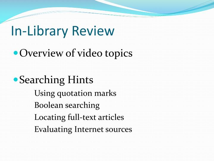 In-Library Review