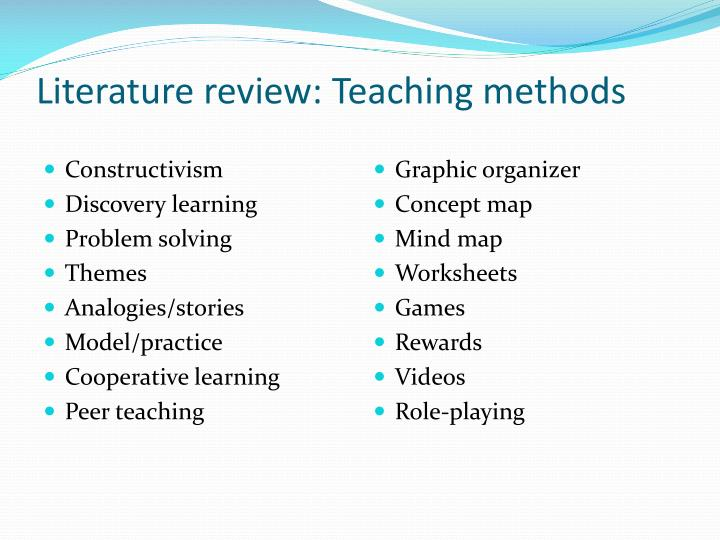 Literature review: Teaching methods