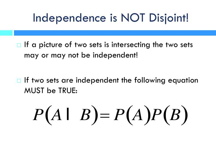 Independence is NOT Disjoint!