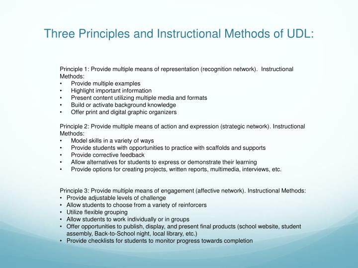 Three Principles and Instructional Methods of UDL: