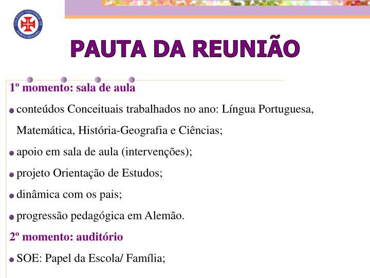 PAUTA DA REUNIÃO