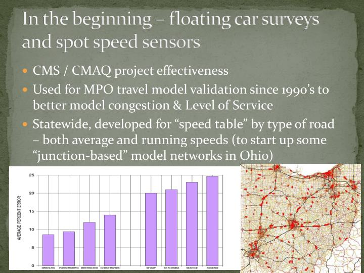 In the beginning – floating car surveys and spot speed sensors