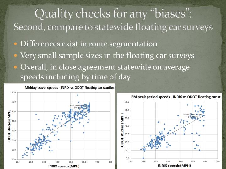 "Quality checks for any ""biases"":"