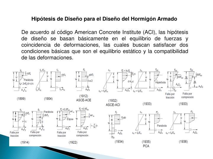 Hipótesis de Diseño para el Diseño del Hormigón Armado