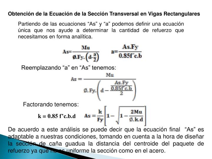 Obtencin de la Ecuacin de la Seccin Transversal en Vigas Rectangulares