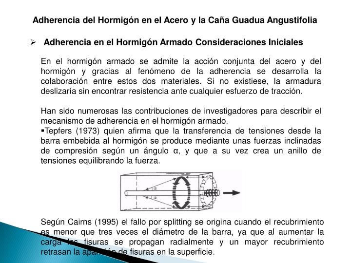Adherencia del Hormign en el Acero y la Caa Guadua Angustifolia