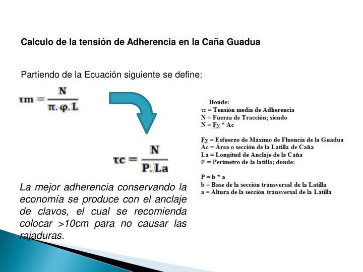 Calculo de la tensin de Adherencia en la Caa Guadua