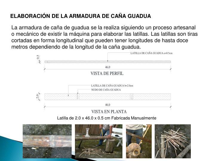 ELABORACIÓN DE LA ARMADURA DE CAÑA GUADUA
