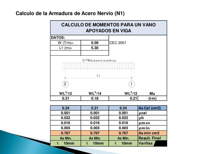 Calculo de la Armadura de Acero Nervio (N1)