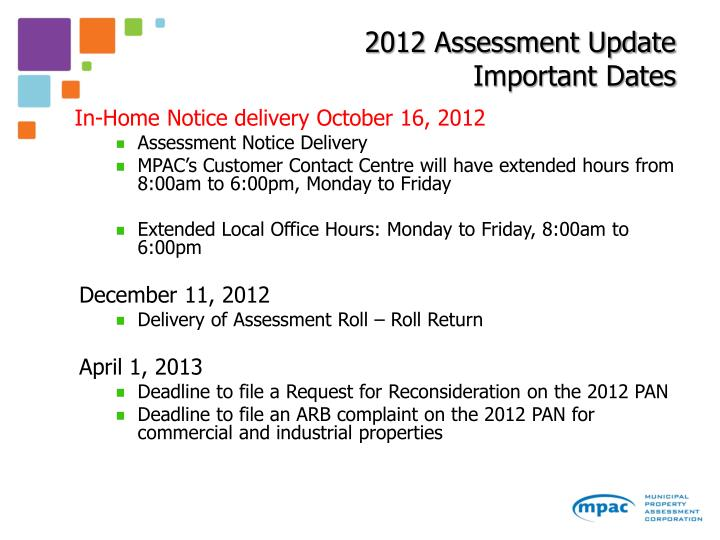 2012 Assessment Update Important Dates