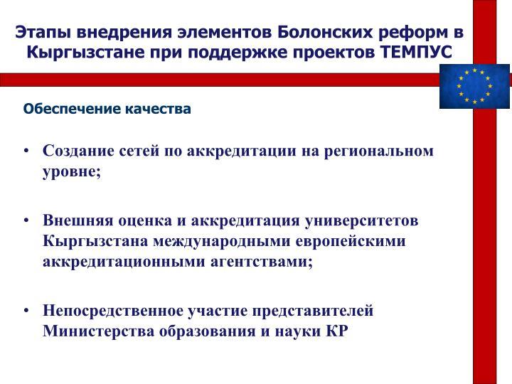 Этапы внедрения элементов Болонских реформ в Кыргызстане