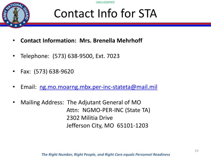 Contact Info for STA