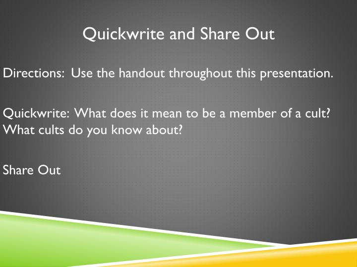 Quickwrite and Share Out
