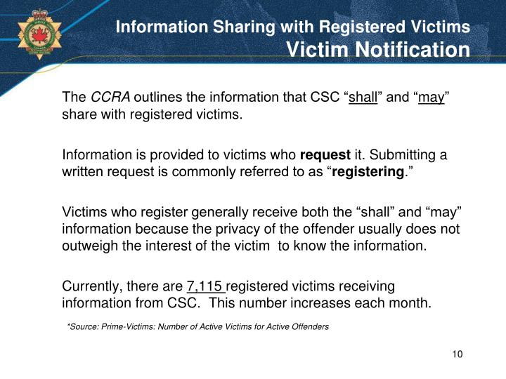 Information Sharing with Registered Victims