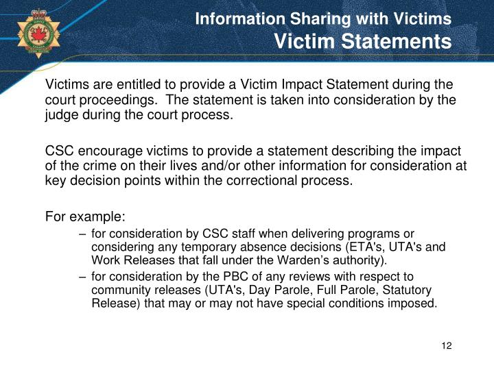 Information Sharing with Victims
