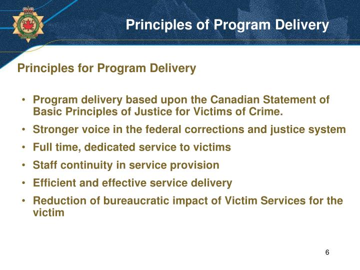 Principles of Program Delivery