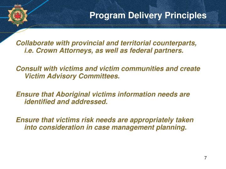 Program Delivery Principles