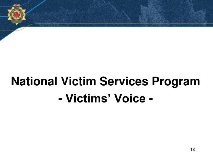 National Victim Services Program